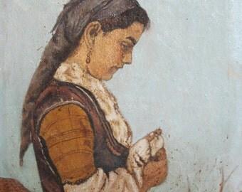 1970 European oil painting woman portrait signed