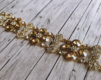 Bridal jewelry gold - sparkling Crystal bracelet