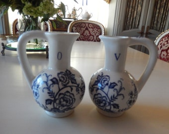 BLUE PEONY VINEGAR and Oil Pitchers
