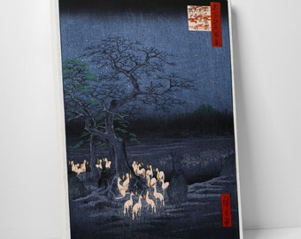 Japanese Art Hiroshige's Foxes Under Enoki Tree Gallery Wrapped Canvas Print