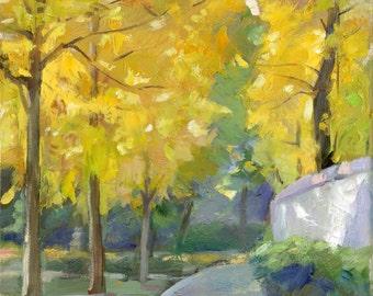 Original landscape oil painting, canvas art, tree painting, oil painting handmade