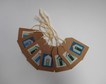 Gift Tags!  Pack of 8 ready-strung buff card tags in Beach Hut design