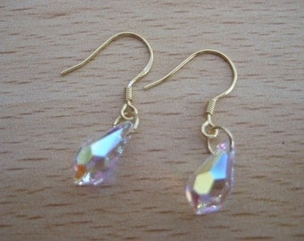 Lovely Gold Plated Sterling Silver Small AB Clear Coated Swarovski Drop Earrings