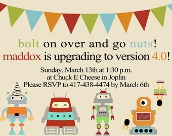 Custom Robot Birthday Party Invitations