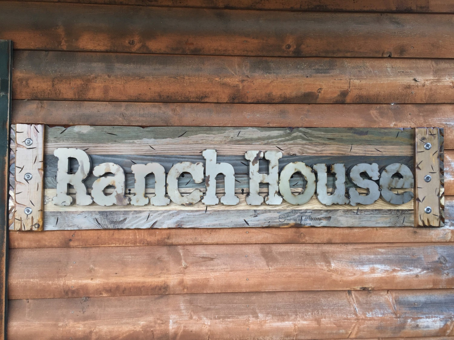 RANCH HOUSE Rustic Sign GREEN Blue Reclaimed Shutter