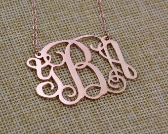"""1.5"""" Monogram Necklace,Rose Gold Monogram Necklace,Initials Necklace,Initials Monogram,Personalized Monogram,Monogrammed Silver N001"""