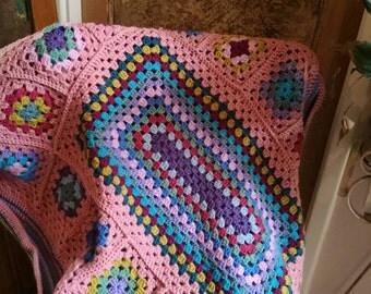 Crochet baby blanket,  vintage baby blanket,  baby shower gift,  pram blanket,  handmade crochet blanket