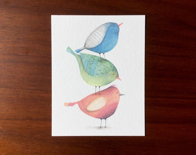 Stacking Birds Postcards multipack post cards letter card mailing postal holiday travel notecard notes logo free