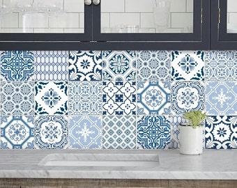 Kitchen Bathroom Tile Decals Vinyl Sticker : Portugal Patchwork Pmix5  BlueBayu