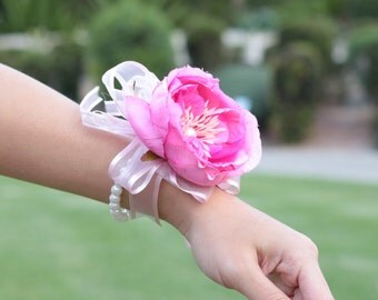 2 Pieces Hot Pink Cabbage Rose Wrist Corsage and Boutonniere Set Mother Groomsmen Bridesmaid formal occassion