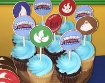 Sklanders Birthday Cupcake Toppers, Skylander Party, Skylander Theme, Skylanders Decorations, Digital, Printable