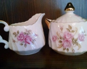 lefton pink rose tea party shabby cottage sugar bowl and creamer