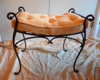 HUGE CLEARANCE! Vintage wrought iron scrolled vanity bench w/upholstered cushion/stool