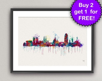 BARCELONA Skyline Watercolor Art Print Spain Europe Countries Ink Painting illustrations Art Print  Wall Art Poster Wall Decor Home (Nº1)