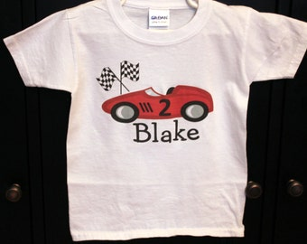Race car birthday shirt personalized