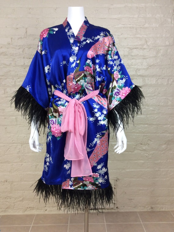 Vintage Inspired Nightgowns, Robes, Pajamas, Baby Dolls Reproduction Silk Blend Asian Circa 1920s Kimono Robe  in Imperial Blue  AT vintagedancer.com