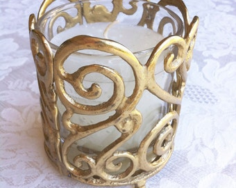 "Brass Filigree Holder with White Candle (3.5 x 4"")"