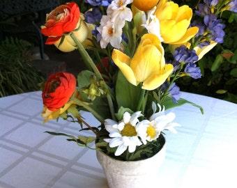Silk Flower Floral Arrangement Yellow Tulips, Orange Cornflowers Daisy Purple Lupine