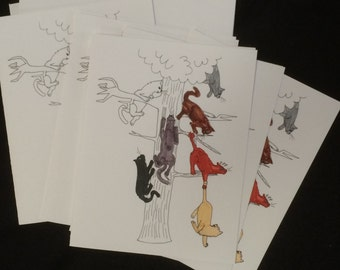 tha katz - blank note cards by emily burke - set of 5 with envelopes.