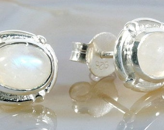 Moonstone and silver,stud earrings  --  1305