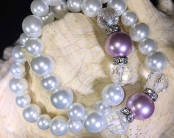 Pair of bridesmaids bracelets, bridal bracelets, wedding jewelry, pearl bracelets, bridal jewelry, bridesmaid gifts