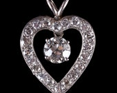 Breath-taking Vintage 1920's Platinum & 14k White Gold Diamond Heart Pendant 2.13ctw