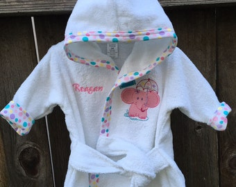 Personalized Embroidered Baby Elephant 100% Cotton Bath Robe Size 0-9 Mos