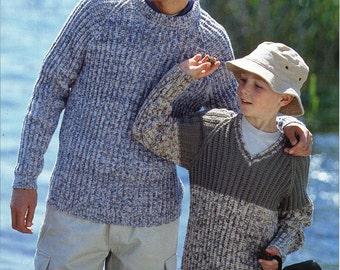"Mens ribbed sweater Knitting Pattern PDF Boys Jumper fishermans rib Sweater 24-46"" DK Light Worsted 8 Ply Mens Knitting Pattern PDF Download"