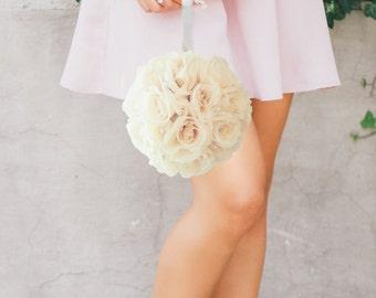 "Ivory Cream flower ball with bling pearl brooch WEDDING CENTERPIECE Cream pomander Ivory kissing ball flower girl 7"" 8"" 10"" 12"" 14"" 16"" 18"""