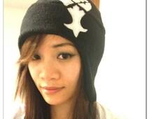 Kingdom Hearts - Heartless Hat - Heartless Aviator Earflap Hat - Black Heartless Hat - Kingdom Hearts Fleece Hat - Kingdom Hearts Hat