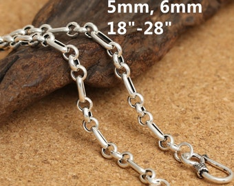 Sterling Silver Link Chain Necklace, Sterling New Rolo Chain, 925 Silver New Rolo Chain Necklace, Sterling Belcher Chain 5mm 6mm - E508