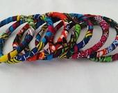 Set of 6 recovered bangles, African fabric, Ankara, Wax