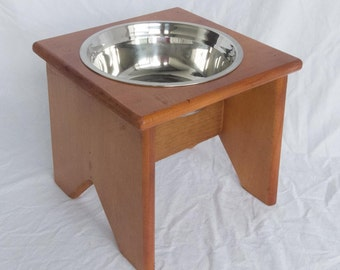 """Elevated Dog Bowl Stand - Wooden - 1 Bowl - 250 mm / 10"""" Tall - Raised Dog Bowl"""