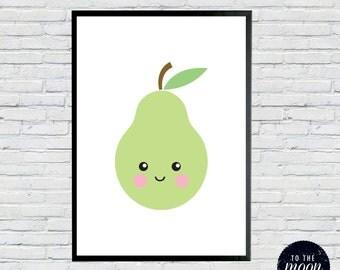 Sweet Baby Pear Print     A4 300gsm Cardstock    Cute Pear Face, Fruit Print, Nursery Art, Green Pear, Smiling, Cheeks, Wall Art Poster