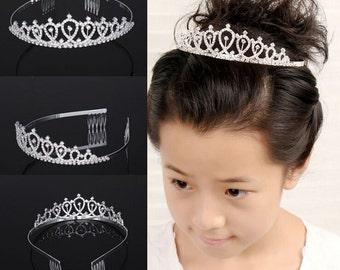Vintage  Kids Crown Tiara Rhinestone Crystal Diamond Headband Flower Girl Tiara baby tiara  cute tiara baby headband