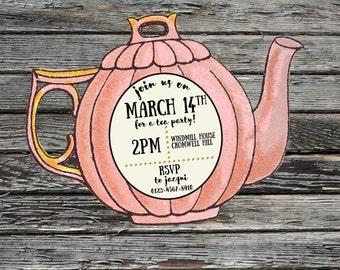Tea pot, Vintage Tea Party, Afternoon Tea, Invitations, Printable Invite, Pink, Green, Yellow, Personalised Birthday invites,