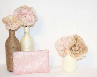 Blush Pink Sequin Clutch - Custom Bridesmaid Clutch - Bridesmaid Makeup Bag - Bridal Wedding Sequin Clutch - Customized Sequin Clutch Purse