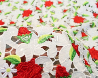 Indian red rose net lace fabric #4712