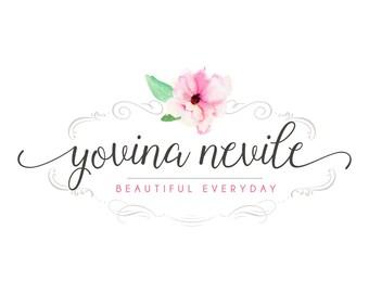 Logo Design Branding Package Premade Graphics Custom Text Pink Floral Ornate Frame