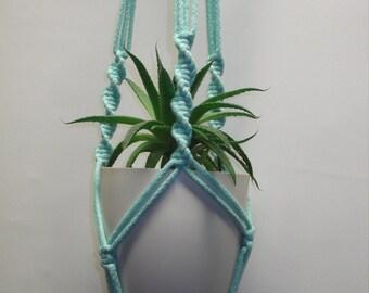 Mint green cotton macrame plant hanger. Flowerpot hanger