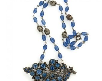 1930's sapphire glass brooch necklace. (nlbg2072)