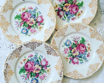 Vintage Bone China Tea Plates 22KT Gold Warranted