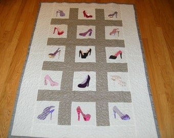 Homemade Quilt, Twin Quilt, High Heels, Handmade Quilt, High Heel Shoes, Appliqued Quilt Pattern
