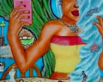 Mermaid selfie, Painting Print, Figure Painting, Surreal Art