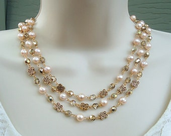 Freshwater Pearl Triple Strand Necklace.Crystal.Gold.Silver.Statement.Bridal.Chunky.White.Multi Strand.Holiday.Formal.Bold.Gift.Handmade.