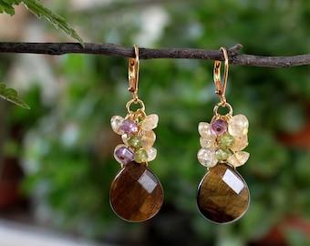 Tiger Eye Gemstone Dangle Cluster Earrings.Amethyst.Peridot.Citrine.Metal plated in 24K Gold.Statement.Brown.Bridal.Formal.Holiday.Handmade.