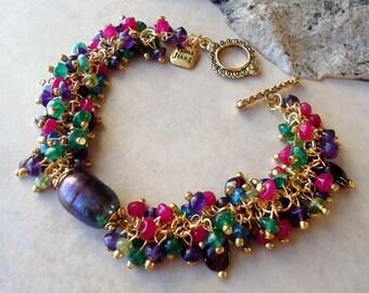 Multi Gemstones Cluster Bracelet.Citrine.Tahitian Pearls.Garnet.Quartz.Jade.Amethyst.Wedding.Beadwork.Bridal.Statement.Gold.Silver.Handmade.