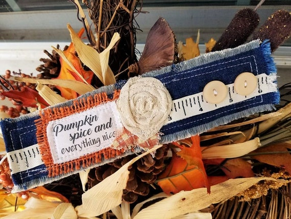 Pumpkin Spice and Everything Nice- Vintage Fabric Fall Cuffs