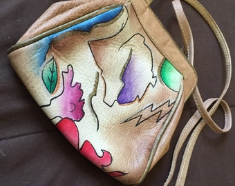 Small vintage hand painted leather bag purse