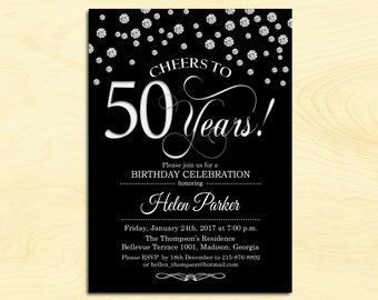 50th Birthday Invitation / Any Age / Cheers to 50 Years / Black Silver / Diamonds / Printable Invitation / Customized